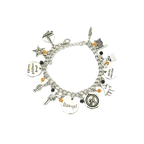 [Hamilton Broadway Silver Tone Multiple Charms Bracelet w/Gift Box by Superheroes] (Colossus Marvel Heroes Costumes)