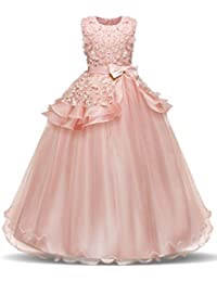 Girl Sleeveless Embroidery Princess Pageant Dresses Kids...