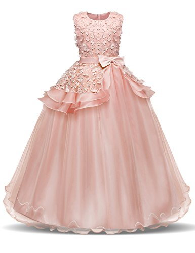 NNJXD Girl Sleeveless Embroidery Princess Pageant Dresses Kids Prom Ball Gown Size (130) 6-7 Years Pink ()