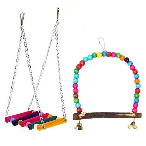 WinnerEco Parrot Toys, Wooden Colorful Beads Bridge Swing Birds Parrots Toy Birdcage Hanging Decor ()
