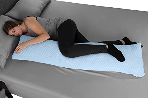 Lavish Home Memory Foam Body Pillow- for Side Sleepers, Back Pain, Pregnant Women, Aching Legs and Knees, Hypoallergenic Zippered Protector (Blue)