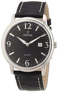 Festina F16516/6 - Reloj analógico de cuarzo para hombre con correa de piel, color negro