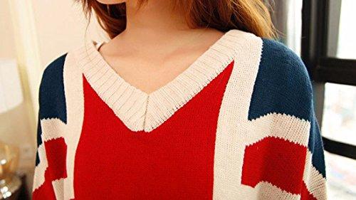 Mesdames à manches longues drapeau américain impression tricoté femmes lâche Baggy V cou rouge usa cavalier