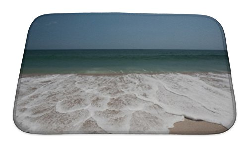 Gear New Bath Rug Mat No Slip Skid Microfiber Soft Plush Absorbent Memory Foam, Atlantic Ocean And Scenic Beach, 24x17 Atlantic Coastline Memories
