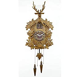 Dygzh Wall Clock Cuckoo Clock Natural Sound of Birds Hand-Carved Wooden Cuckoo Clock Movement Quartz Timekeeping Home Decoration Accessories Living Room Wall Clock (Color : Brown, Size : Free Size)