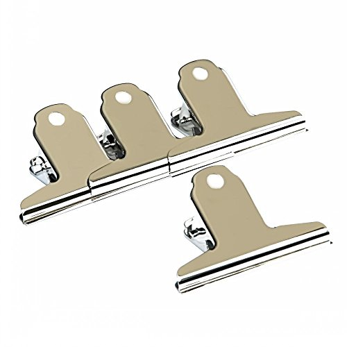 LI-GELISI Large Bulldog Clips, Metal Paper Clip, Bull Dog Clips Stainless Steel Bulldog/Hinge Paper Clip, Office Supplies 4 Pack- 5 inch