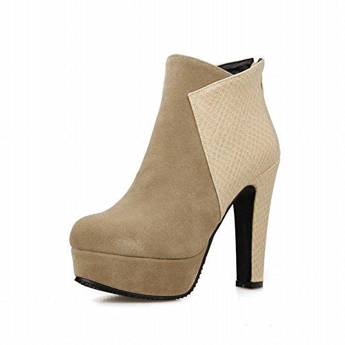Latasa Mujeres Fashion High-heel Platform Botines De Albaricoque Botas