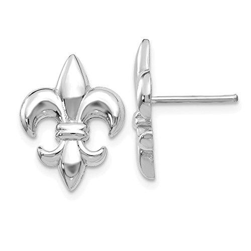 Fleur De Lis White Earrings (14k White Gold Polished Fleur De Lis Post Earrings)