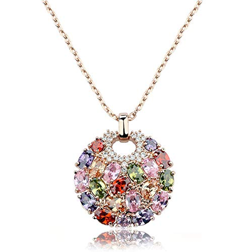 (Rose Gold Necklace for Women - CZ Pendant Necklace Multi-Stone Round Disc 18