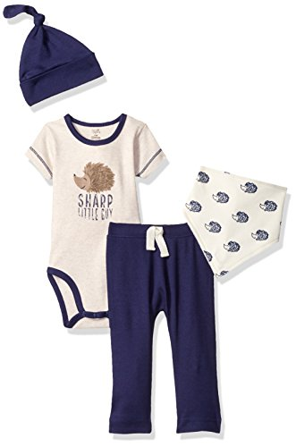 Touched by Nature Baby Organic Layette Set 4-Piece, Hedgehog, 0-3 Months