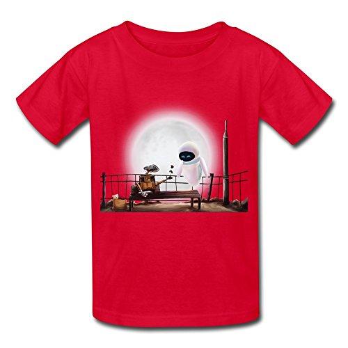 Kids Boys Girls Tee Shirt Wall E Eve Robot Moon Love Red Size M