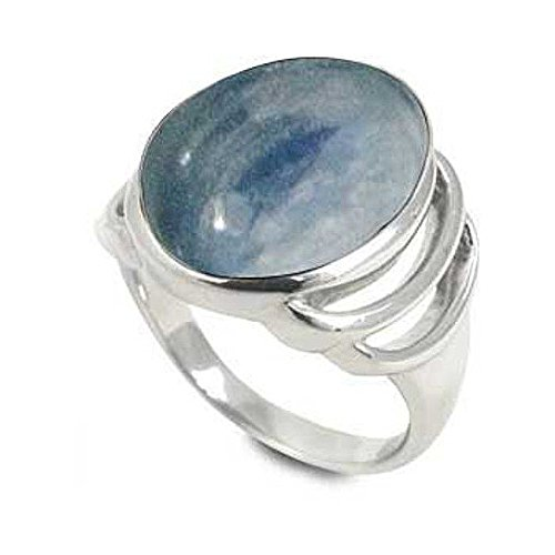 Sterling Silver Ring with Oval Kyanite Stone (BTS-NRB6613/KYA/R) - Size 8