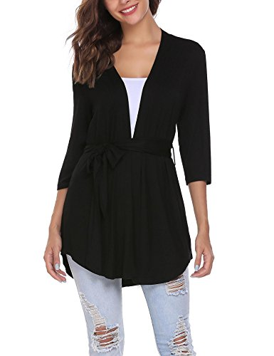 Belted Wrap Sweater - ELESOL Women's 3 4 Sleeve Draped Open Front Cardigan Loose Maxi Cardigan Coat (Black/XL)
