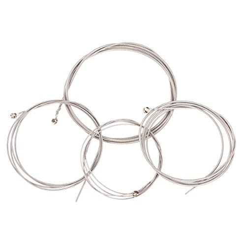 TTnight Set of 4 Steel Strings Replacements for 4 String Bass (Flatwound Acoustic Guitar Strings)