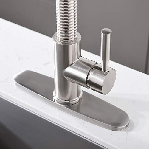 """ENUS 1016SS Single Handle 20"""" Height Commercial Kitchen Faucet with Pasue Button Spray Pull Down Kitchen Sink Faucets with Deck Plate, Brushed Nickel by ENUS (Image #6)"""