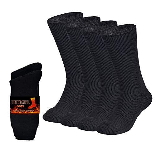 NovForth 2 Pack Mens Thermal Socks Thick Heat Trapping Insulated Heated Boot Socks for Extreme Temperatures (Mens shoe 9-12; Womens 10-13.5)