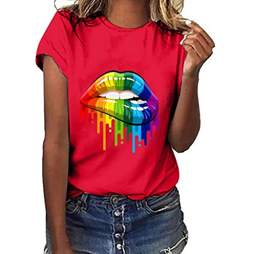 IanWi Painted T-Shirt Plus Size Lips Gesture Print Short Sleeve Casual Blouse for Women