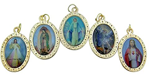 Saint Michael with Jesus Christ and Our Lady Marian Icon Set of 5 Assorted Medals - Gold Heart Medal