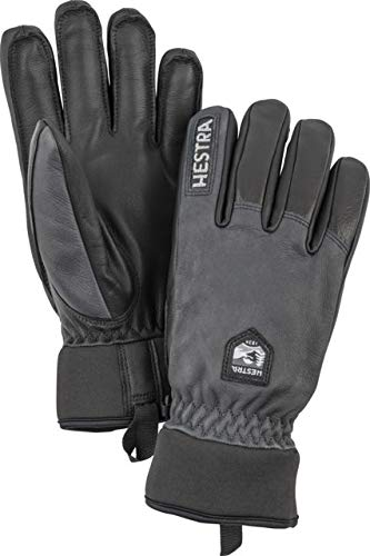 (Hestra Army Leather Wool Terry 5 Finger Glove - Unisex, Grey/Black, 07, 30800-350100-07)