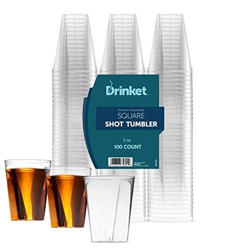 DRINKET CLEAR PLASTIC SHOT GLASSES 2 Oz - Disposable Shot Glasses Bulk - Wine Tasting Cups - Small Plastic Tumbler - Square Shooter, Whiskey Mini Shot Cups - small plastic cups bulk - 100 Pack. ()