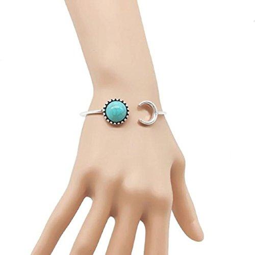 Ethnic Cuff (Ikevan Bohemian Silver Alloy Sun Moon Shape Turquoise Ethnic Retro Fashion Cuff Open Bracelet Bangles Gift for Women Girls)