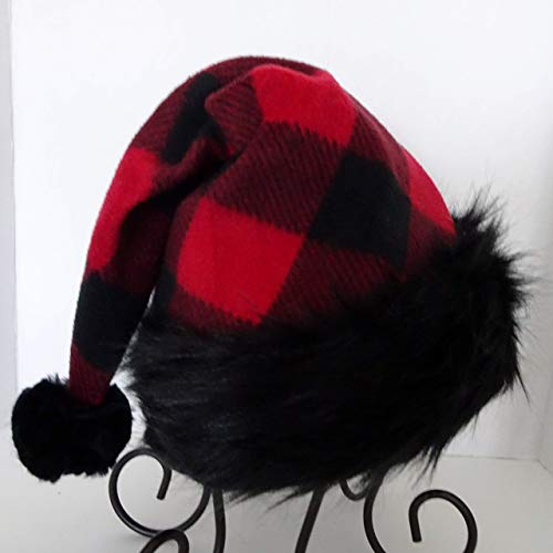 3486878a19a6e Amazon.com  Bad Santa Black Trim Red and Black Buffalo Check Fleece Santa  Hat