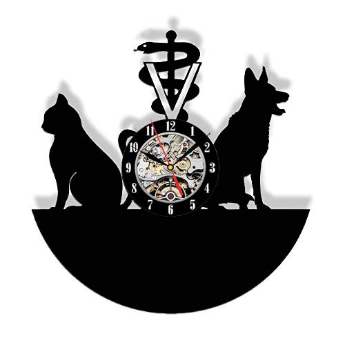 Vinyl Wall Clock Cat and Dog Services Animal Health Vinyl Record Wall Clock  Wall Art 12inch X  30cm
