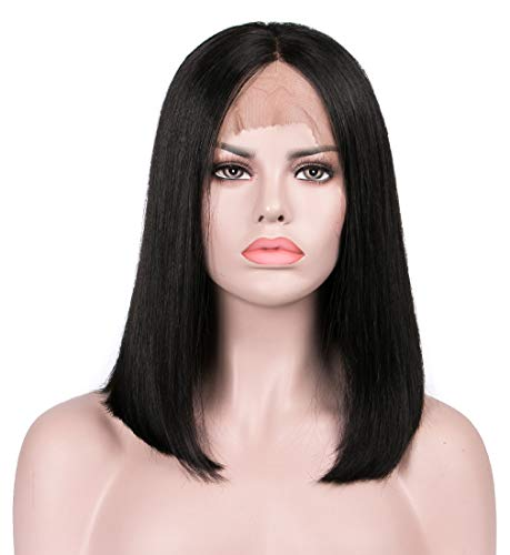 Lanyi 12 inch Human Hair Lace Front Straight Wig Middle Part Natural Black Brazilian Virgin Hair Lace Wig Color 1b Shoulder Length