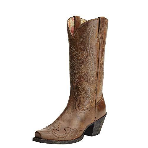 Ariat Women's Round Up D Toe Wingtip Western Cowboy Boot, Sandstorm, 8.5 B US (Ariat Womens Cowboy Boots)