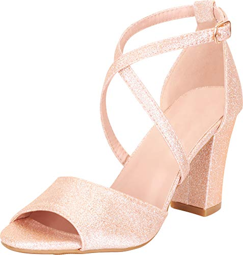 - Cambridge Select Women's Open Toe Crisscross Strappy Chunky Block Mid Heel Sandal,7.5 B(M) US,Champagne Glitter