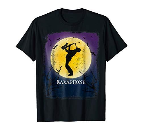 Saxaphone Player Halloween Tshirt Jazz Music Retro Art -