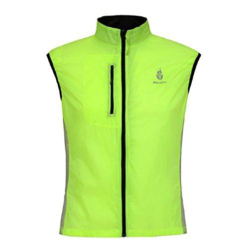 Bike Sleeveless Cycling Jerseys Cycling Waistcoat Outdoor Wind Vest f_o238 Green XXL