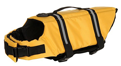 Jack Dawson Costume (Machao Pets Water Life Jacket Dog Safety Vest Puppy outdoor Adjustable Reflector Clothing-Yellow-L)