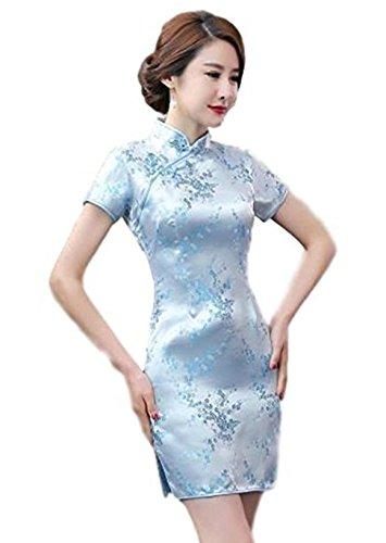 Maritchi Women's Sexy Floral Mini Chinese Evening Dress Cheongsam China Wedding Clothes (10(ChineseXXL), Light Blue)