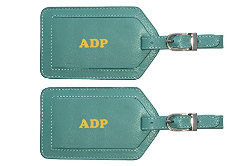 (Personalized Monogrammed Turquoise Leather Luggage Tags - 2 Pack)