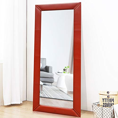 PexFix Full Length Mirror Leather Frame Floor Mirror Modern Dressing Mirror for Bedroom, Office, Leaner Mirror Wall Mounted Mirror 65