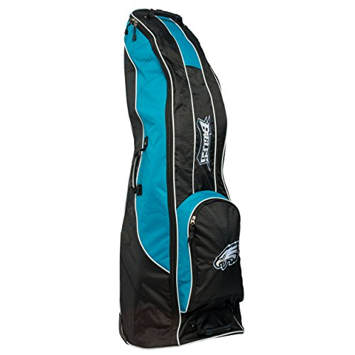 Team Golf NFL Philadelphia Eagles Travel Golf Bag, High-Impact Plastic Wheelbase, Smooth & Quite Transport, Includes Built-in Shoe Bag, Internal Padding, & ID Card Holder