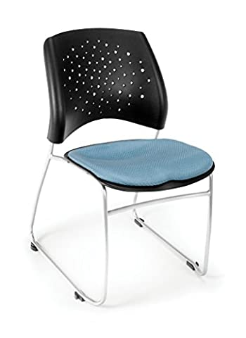 OFM 325-4PK-2206 Stars Series Armless Fabric Stacking Chair, Cornflower Blue (Pack of 4) - Ofm Armless Stacking Chair