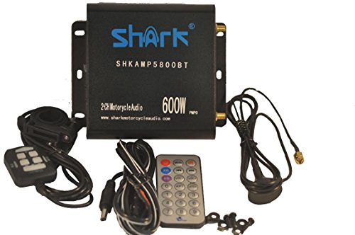 Shkamp5800bt Black 600 Watt Motorcycle Amplifier with Bluetooth , 2 Remotes , Marine External Antenna. Great for All Motorcycle, Atvs