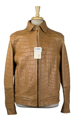 brioni Brown Crocodile Leather Zip-Up Jacket Size 50/40 (Brioni Jacket)
