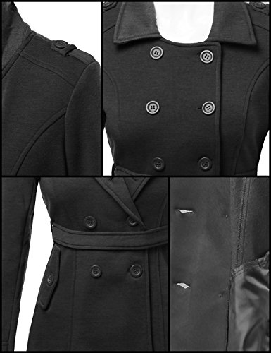 Awesome21 Beautiful Fit Cotton Blend Classic Double Breasted Trench Coat Charcoal Size S by Awesome21 (Image #2)