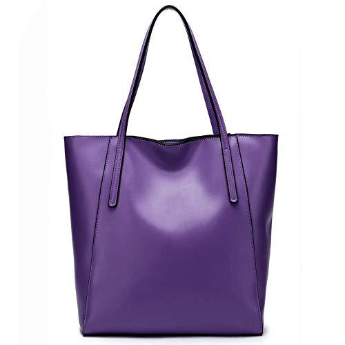 (CHERRY CHICK Women's Genuine Leather Everyday Tote and Shoulder Bag Sturdy Purse Handbag (Dark Violet-9819))