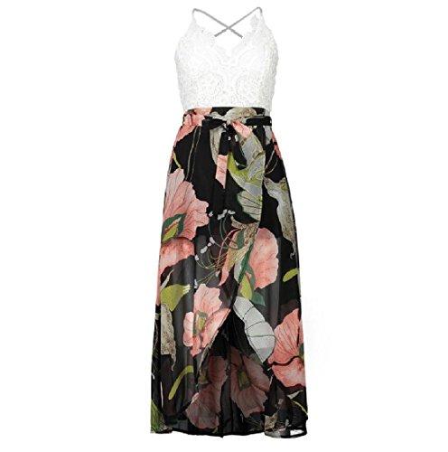 Coolred Line Flared Spring Hem Dress Floral Swing A Pattern2 Split Backless Women Lace OZ6rO