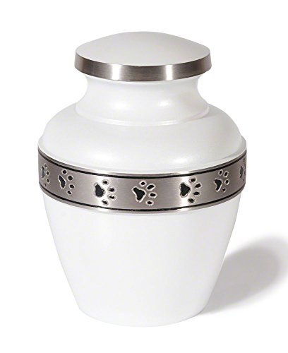 Best Friend Services Avalon Paw Series Pet Urn (Small, Cloud White with Pewter Trim) by Best Friend Services