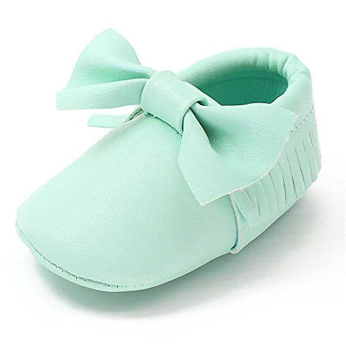 Girl Baby Shoe Ballet (OOSAKU Infant Toddler Baby Soft Sole PU Leather Bowknots Shoes (12-18 Months, Green))