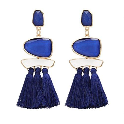 Women's Earrings, Paymenow Women Girls Vintage Rhinestones Crystal Tassel Long Drop Earrings Fashion Ethnic Stud Earrings Eardrop Jewelry (Blue)