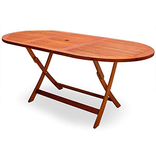 cucunu Outdoor Table Alabama Folding Patio Dining Tables Umbrella Hole 63 x 34 Inch Oval Eucalyptus Wood Furniture