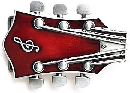 Red Guitar Head Music Belt Buckle