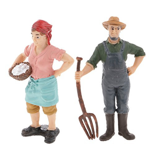Perfk 2個 人形 農夫 男性 女性 モデル 職人 プラスチック 机の装飾 子供の物語の小道具 ショーケース ディスプレイ おもちゃ 2タイプ選べる - #2