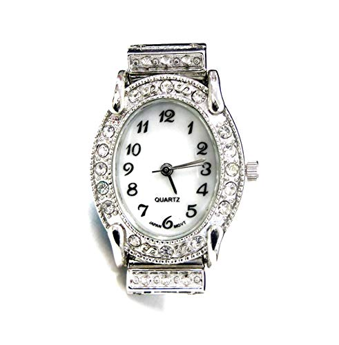 Oval Watch Face - Linpeng Watch Face For Crafts, Beading Jewelry Making / 24x30mm /Oval Silver Frame with Rhinestone Edge/Geneva Style/Japan Movement/Battery Included / 1pc